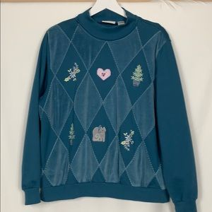 Alfred Dunner teal sweatshirt size XL